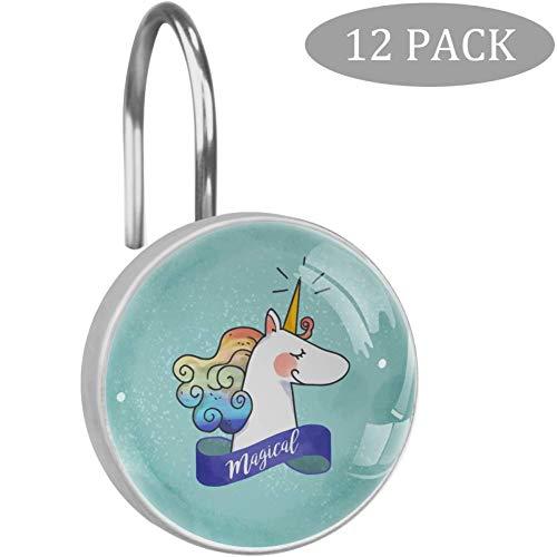 TIKISMILE Magisches Einhorn Kristall Glas Duschvorhang Ringe Haken Rostfrei für Badezimmer Duschstangen Gardinen Set von 12