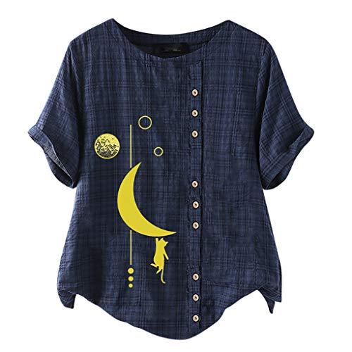 KIMODO Leinen Bluse Damen Retro Sommer Übergröße Druckknöpfe Baumwolle T Shirts O-Ausschnitt Langarm Kurzarm Loose Rundhals Oberteile Tops (Marine-B, 3XL)