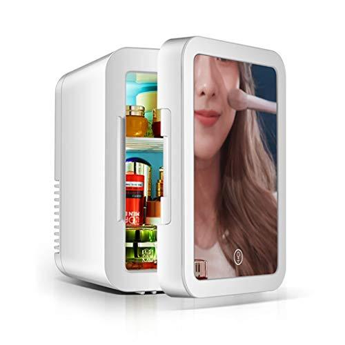 Yann Mini nevera, nevera de belleza personal portátil, refrigerador de espejo de maquillaje, con luz LED (tres niveles de brillo) AC + DC Power, para dormitorio, oficina, dormitorio, automóvil - genia