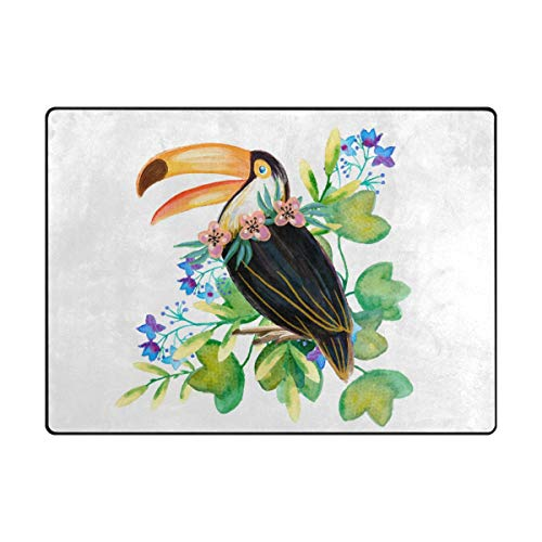 MALPLENA Happy Toucan Zone Tapis antidérapant Pad Moyen d'entrée Paillasson Tapis de Sol Chaussures Grattoir, Polyester, 1, 63 x 48 inch