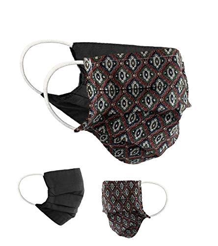 BaF Masken 2er Pack Set Unisex Behelfsmaske Wendbar Mundschutz Maske Mund- und Nasenschutz Wendemaske mit Motiv Baumwolle BCI Waschbar, Rot