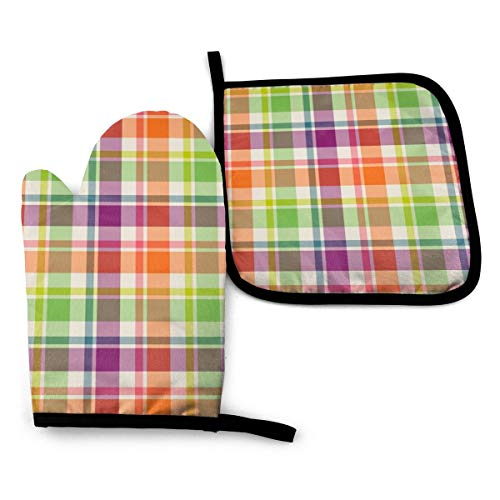 XNLHQH IJ Purple Orange and Lime Green Plaid 2PCS Heat Resistant Oven Mitts and Pot Holders Sets,for Safe BBQ Cooking Baking Grilling