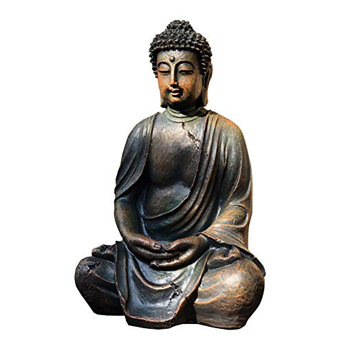 RNNTK Garden Ornament Zen Buddha Statue, For Lawn Patio Courtyard Decor Garden Statue Handcrafted,Resin Religious Buddha Garden Figurines Vintage-A