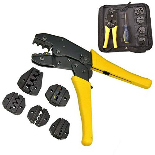 Derclive - Juego de alicates crimpadores de alambre con destornillador, 5 piezas módulo de crimpado para terminal aislante, color amarillo + negro