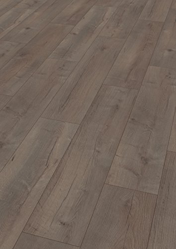 EGGER Home Laminat dunkel braun Holzoptik - Dunino Eiche graphit  EHL048 (8mm, 2,541 m²) Klick Laminatboden | breite Diele