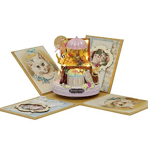 XUAN Caja de música Caja de música de DIY Casa de Caramelo Caja Caja Mujer Hecho Hecho Modelo Modelo Caja de música de Juguete Educativo para Adultos Caja de música Regalos de cumpl