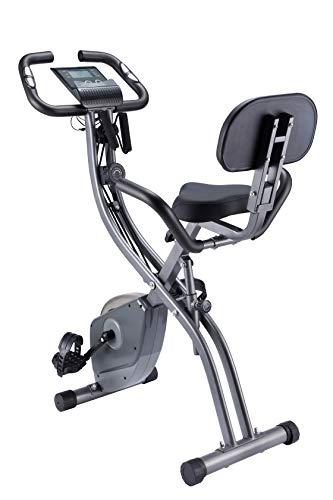 WENHAUS Fitness Bike, Heimtrainer Klappbar, Faltbares Fitnessfahrrad mit 10 Widerstandsstufen, Fitness Bike für Zuhause Büro Indoorcycling Bikes (Grau mit Seilzug)