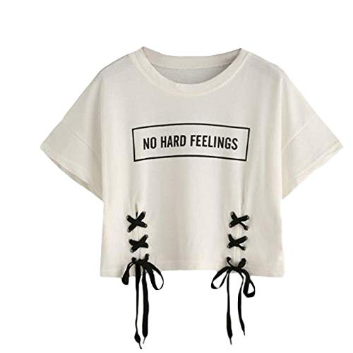 DFEIPING Summer Crop Tops Women Tshirt Letter Print Short Sleeve Cotton Loose White T Shirt Dance Tee Tops-in T-Shirts,White,M