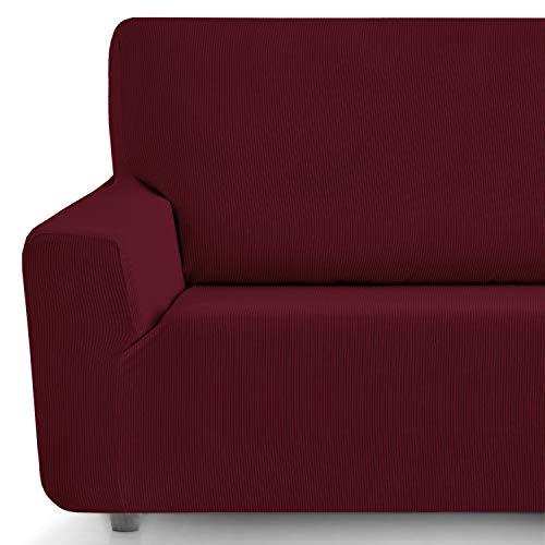 Eiffel Textile Funda Sofa Elastica Protector Adaptable Rústica Sofá, Rojo, 2 Plazas (130-180 cm)