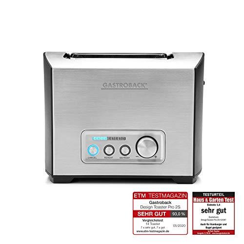 Gastroback 42397 Design Toaster Pro 2S, 2-Scheiben, intergrierter Brötchenaufsatz, 9 Bräunungsstufen, LED-Countdown-Anzeige, 950 Watt, 18/8 Edelstahl, edelstahldesign