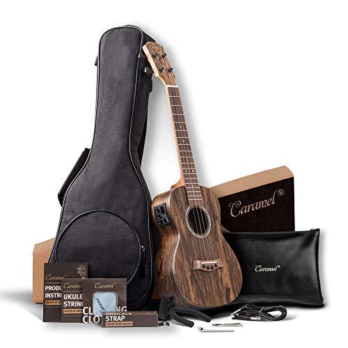 Caramel 26 inch CT905 All Butterfly Bocote Wood Tenor Electric Ukulele Professional Ukelele Kit Beginner Guitar Starter Bundle Strings, Padded Gig Bag, Strap and Wall mount Set