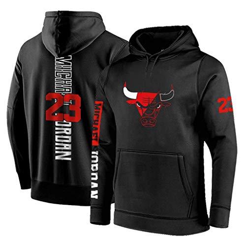 FMSports Hombres Sudadera con Capucha - NBA Chicago Bulls # 23 Michael Jordan Entrenamiento De Baloncesto Jersey Pullover Suelta La Camiseta De Baloncesto Camiseta,Negro,L~170~175CM