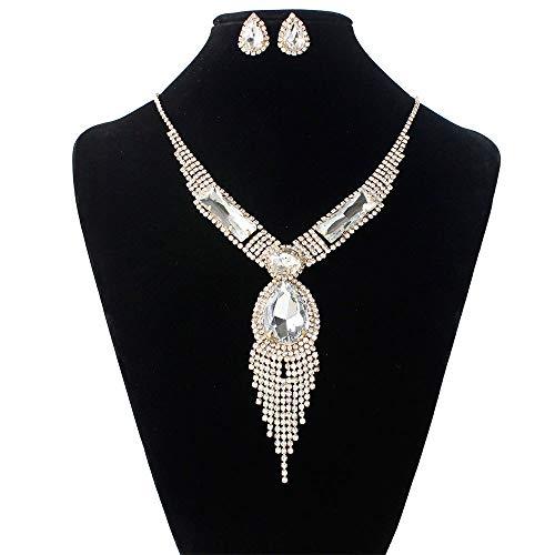 SFQRYP Fashion Bride Jewelry Set Flow Su Taladro de Agua Colorido Micro-Boda Joyería Collar Anillo Ear Anillo Conjunto (Color : A)