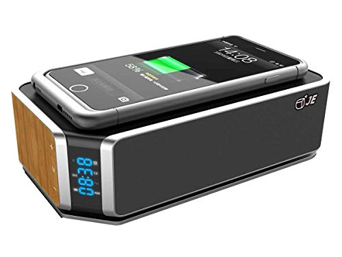 JE Bluetooth Lautsprecher, Stereo Sound, Digital mit FM Radio, QI Kabelloses Laden für 7,5W iPhone Ladungen,10W Schnellladetechnologie für Galaxy (schwarz)
