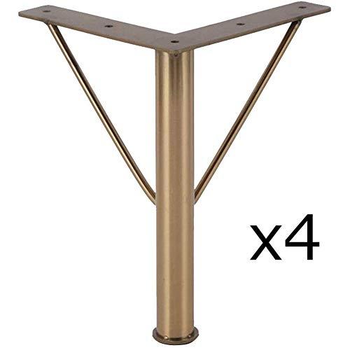 ZXL Meubelpoten, metalen poten voor salontafel voor de badbank, verhoogde benen, reservevoeten voor 8 inch vergulde tv-kast, robuuste lagers (set van 4)