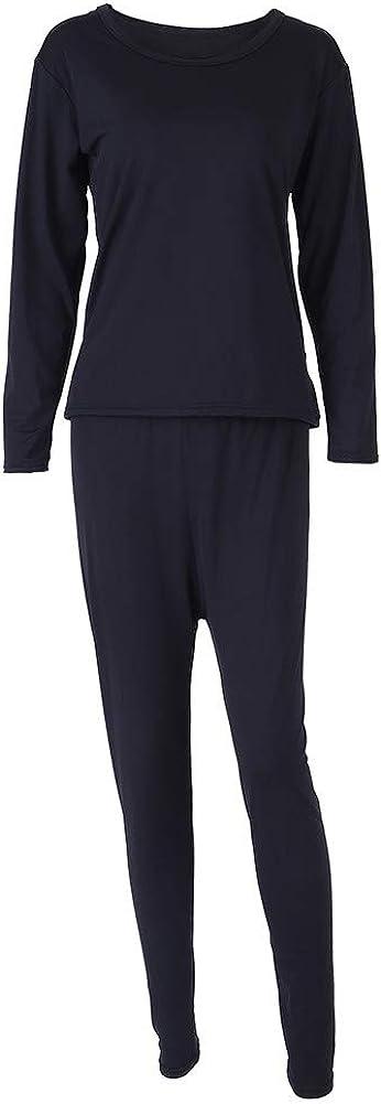 qing niao Large Size Women Thermal Underwear Top Bottom Set Spring Winter Sleepwear (Black 4XL)
