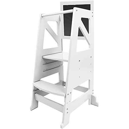 Dripex Kids Kitchen Step Stool, Adjustable Height Wooden Standing Tower with Safety Rail, Mothers' Helper, White