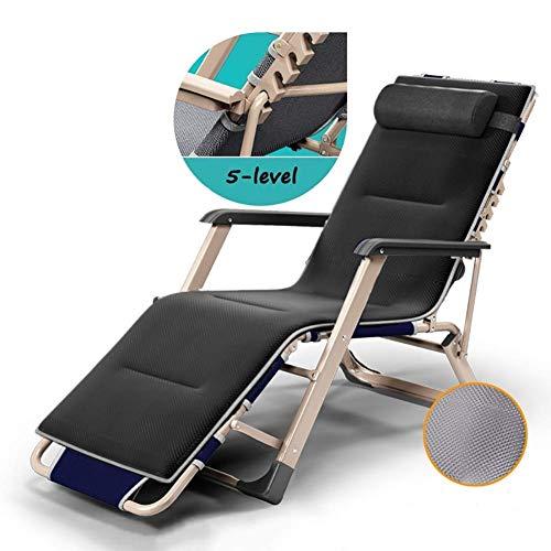 AI LI WEI Home Outdoor/Chaises Oversize Lawn Reclining Zero Gravity Outdoor Plage Chaise de Camping Portable, Soutien léger 240 kg Chaise de Camping (Color : Black)
