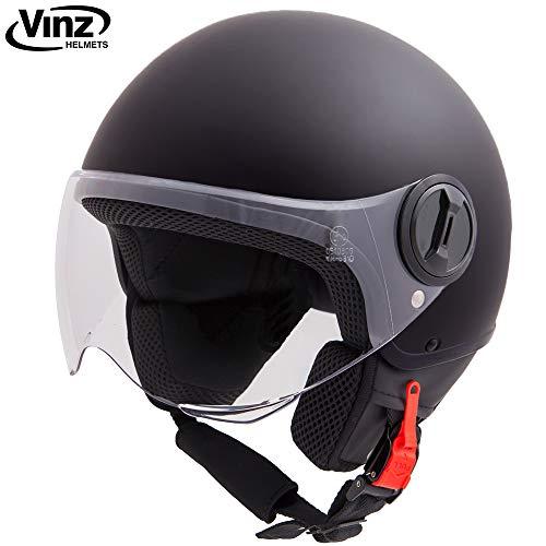 Vinz Rollerhelm Jethelm Basic | Jet Roller Motorrad Helm | in Gr. XS-XL | Helm mit Visier | ECE zertifiziert (L (58 cm), Matt Schwarz)