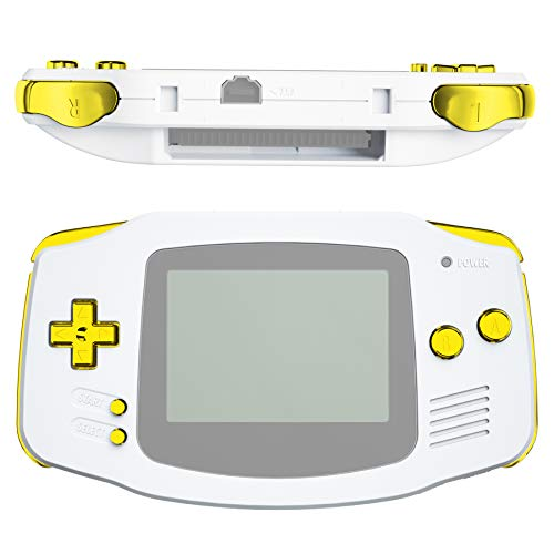 eXtremeRate Chrome Gold Replacement Full Set Buttons for Gameboy Advance GBA - Handheld Game Console NOT Included