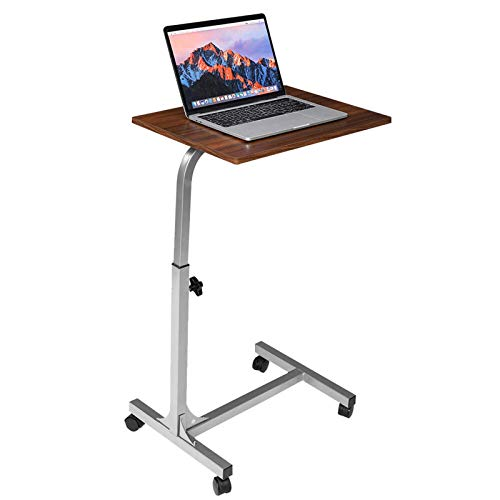 QFWM Escritorio para ordenador portátil, mesa con ruedas, mesa auxiliar, sofá cama, altura ajustable, escritorio de trabajo de oficina