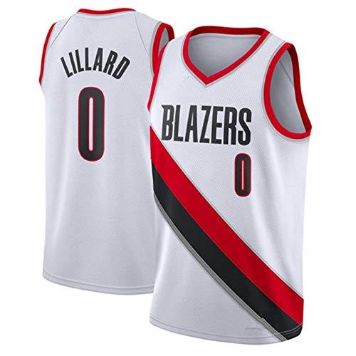 WJP Maglie da Basket 2021 / Portland Trail Blazers # 0 Damian Lillard Abbigliamento da Allenamento per Pallacanestro Sport Gilet Senza Maniche Ad Asciugatura Rapida E TR 2-XL(185~190CM)