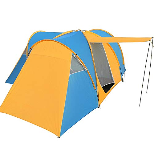 QinWenYan Outdoor Tents Extra Large Outdoor Camping Tent 6-9 Person Portable Spring Outing Picnic Tent (Color : Blue+Yellow, Size : 8 people or more)
