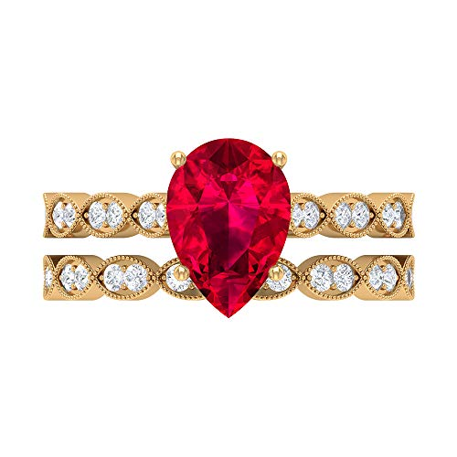 2.51 CT Lab Created Ruby Ring, D-VSSI Moissanite Bridal Ring Set, 7X10 MM Pear Shaped Engagement Ring, Gold Side Stone Ring, 18K Yellow Gold, Size:UK T