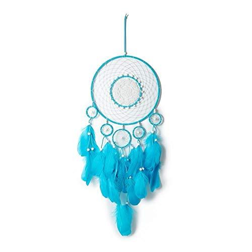 EastMetal Flores Atrapasueño Grande Azul Dream Catcher Hecho a Mano Atrapasueños Grande Decoracion para Decoración De Dormitorio Decoraciones De Boda Boho Chic Party Nursery Decor,84x25cm