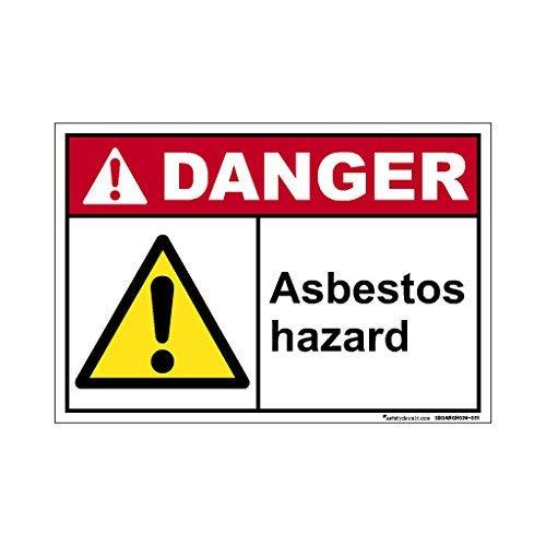 Aufkleber Gefahrenvorsicht/Asbest, selbstklebend, Vinyl, für Autos, LKW-Fenster, 20,3 x 30,5 cm