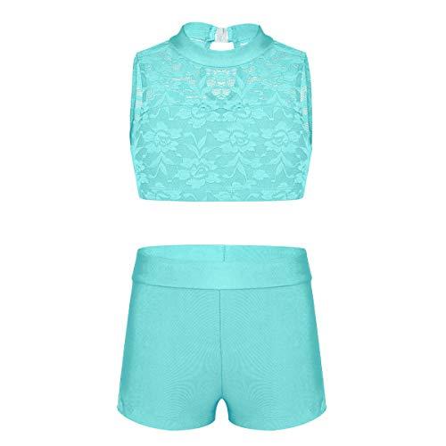 inhzoy Kids Girls Tankini Outfit Set 2-Piece Gymnastics Leotard Ballet Jazz Dance Sleeveless Lace Crop Top with Shorts Mint_Green 8