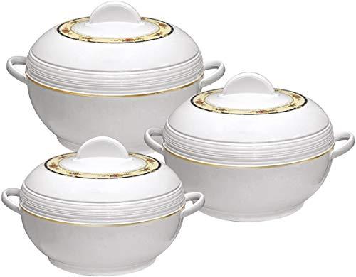 SQ Pro Ambiente - Set di casseruole isolate, 6, 8 e 10 litri, colore: Bianco