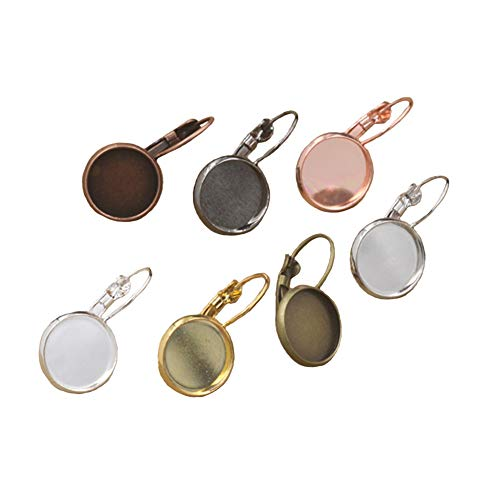 Earring Dangle Hooks 70 Pieces 12Mm Copper Cabochon Pendant Tray Ear Hook Style Earring Backs Jewelry Making for Women Girl DIY Art Craft (7 Colors)