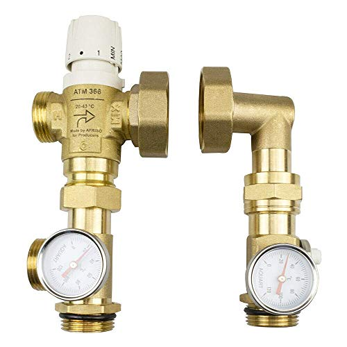 Festwertregelset für Fußbodenheizung ohne Pumpe Messing Mischventil Afriso UM-2 (Ohne Pumpe)