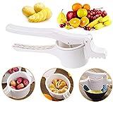 WLHER Machacador de Patatas, Prensa de Frutas y Verduras para bebés, Prensa de Patatas Manual de plástico ABS, con 3 Discos Intercambiables (Fino Medio Grueso), Apto para lavavajillas