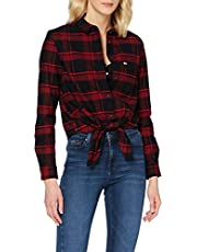 Tommy Jeans Dames Tjw Check Front Knot Shirt Shirt Shirt