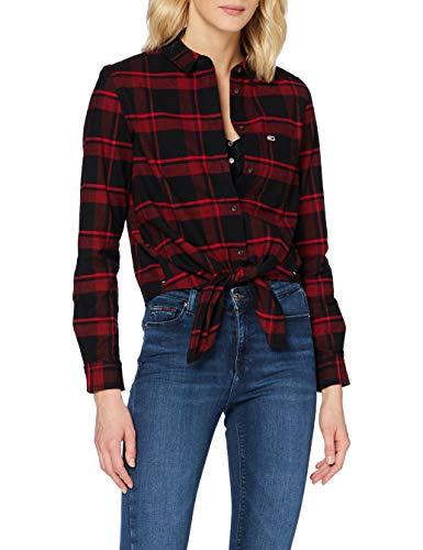 Tommy Hilfiger TJW Check Front Knot Shirt Camisa, Carmesí Profundo/Negro a Cuadros, L para Mujer