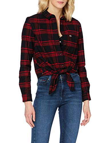 Tommy Jeans TJW Check Front Knot Shirt Chemise, Cramois/Carreaux Noirs, L Femme