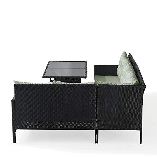 SVITA Poly Rattan Ecksofa Rattan-Lounge Esstisch Gartenmöbel-Set Sofa Garnitur Couch-Eck (Dining Set, Schwarz) - 3