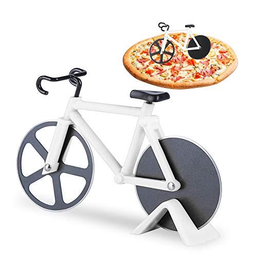 KATELUO Bicicleta Cortador de Pizza,Cortador Pizza Motocicleta,Corta Pizza Bicicleta,Las Herramientas Creativas Cocina Son Ideales para los Amantes de la Pizza. (Blanco)
