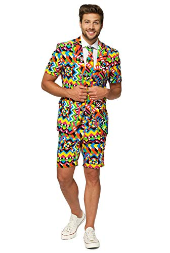 OppoSuits Men Suit Juego de Pantalones de Traje de Negocios, Abstractive, 42 para Hombre