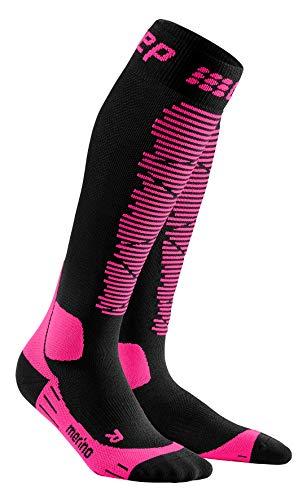 CEP – SKI MERINO SOCKS REDESIGN für Damen | Merinosocken für den Wintersport in schwarz / pink | Größe III