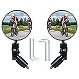 Flinctronic 2 Piezas Espejo Retrovisor de Bicicleta, Espejos de Bicicleta 360° Adjustable Giratorio, (17.4mm-22mm)HD Gran Angular Espejos Bicicleta para Bicicleta Manillar, Bicicletas de Montaña