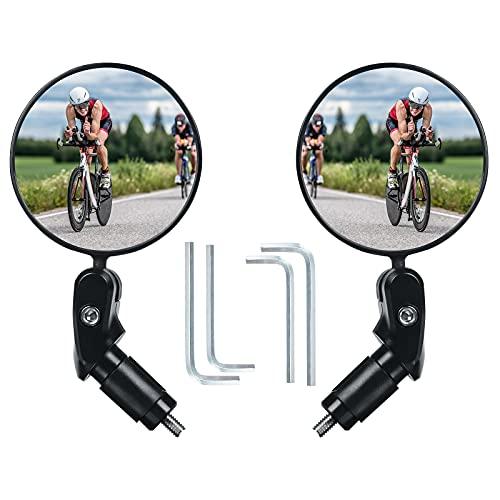 Flintronic Specchietto per bicicletta,Specchietto retrovisore per bicicletta Ruotabile a 360° Montato su manubrio Specchio convesso in plastica Specchio per bici da strada di montagna
