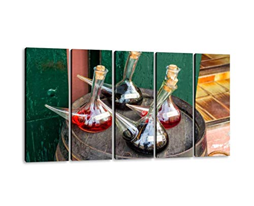 KiiAmy 5 Panels Art Wall Decor A porron is a Traditional Glass Wine Pitcher Artwork Modern Canvas Prints Office Bedroom Home Decor Framed Painting Ready to Hang (60''Wx32''H)