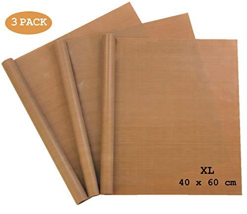 Premium Dauerbackfolie (3er Set) extra Groß zum Grillen und Backen - 3 Stück 40x60 cm zuschneidbar - Backfolie Spülmaschinenfest - Backpapier wiederverwendbar - Backblech Unterlage für Backofen