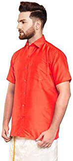 SJS-Men's Half Sleeve Solid Art Silk Shirt (Orange Red, 36)
