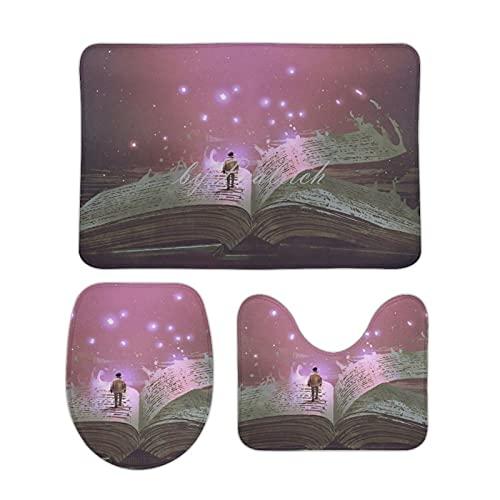 3 Piece Luxurious Bath Rug Set, Cool Magic Book Reading Student Fantasy Non-Slip Bath Mats Contour Rugs Toilet Lid Cover Bathroom Decor 50x80 cm