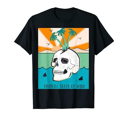 Estado de ánimo Gracioso Calavera Playa Tiburón Palmera Sol Camiseta