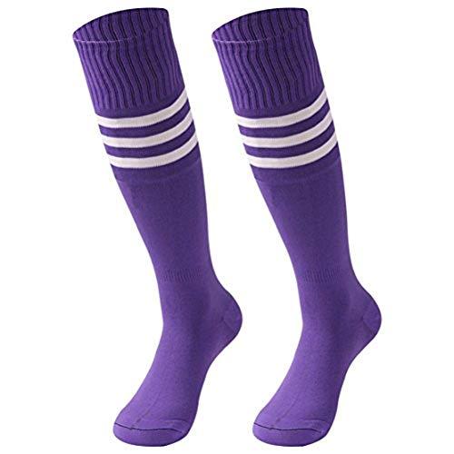 saounisi Unisex gestreifte Röhrensocken, 2/6/10 Paar Kniehoch, Fußball Volleyball Baseball Cheerleading Team Socken - Violett - Large